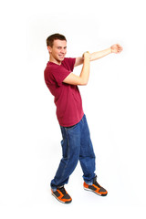 Smiling boy cool dance break dance isolated on a white backgroun