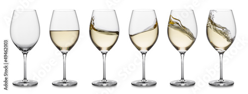 Leinwandbild Motiv White wine splash collection