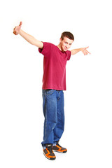 Cool hip hop style dancer posing isolated on white