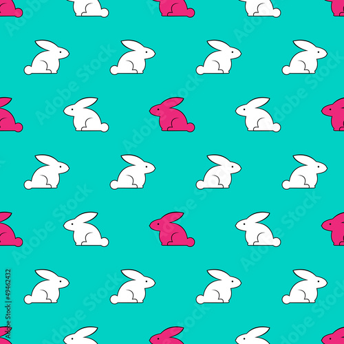 Vintage seamless texture with rabbits. Vector illustration.