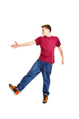 Cool breakdancer posing isolated on white background