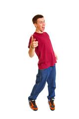 Funny brekdanser posing isolated on white background