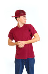 Portrait of cool looking breakdancer aside isolated on white bac
