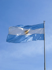 Argentina flag rippled in the wind.