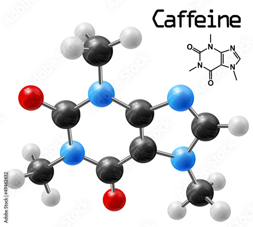 structural model of caffeine molecule