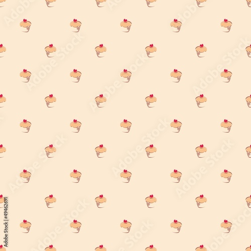 Seamless vector pattern little cupcakes, muffins, sweet cake