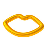 Golden 3d smiley lips icon