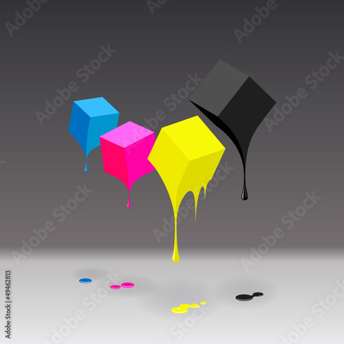 CMYK cubes with blobs background, vector EPS10 illustration.