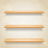 wooden shelves on grunge background