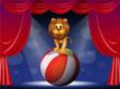 A lion above a hot air balloon