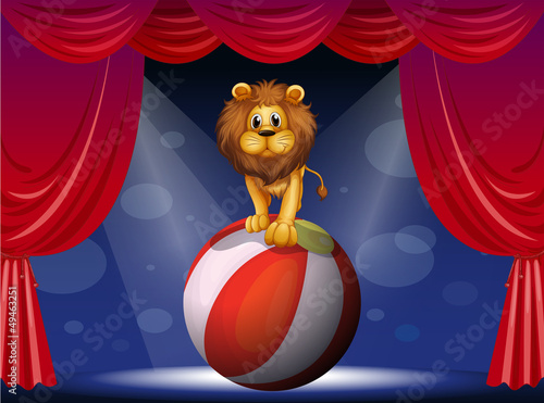 A lion above a hot air balloon