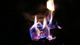 burning fire in  fireplace in the night Full HD