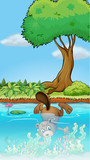 A beaver diving underwater