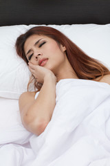 woman with stress in bedroom