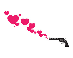The revolver shoots hearts. Abstract vector illustration. Place