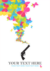 The revolver shoots butterflies. Abstract vector illustration. P