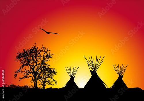 In de dag Indiërs tepee al tramonto