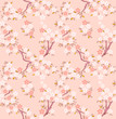 Blossoming sakura or cherry tree japanese seamless pattern