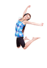 young woman jumping with joy , full length