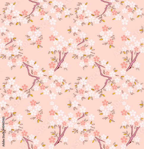 Blossoming sakura or cherry tree japanese seamless pattern