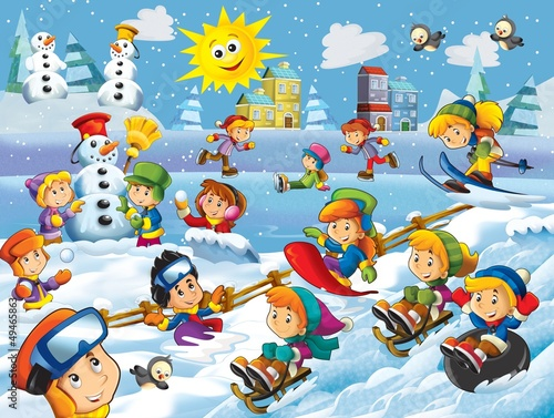 The winter fun kids - illustration for the children