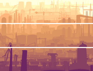 Abstract horizontal banner industrial part of city in the mornin