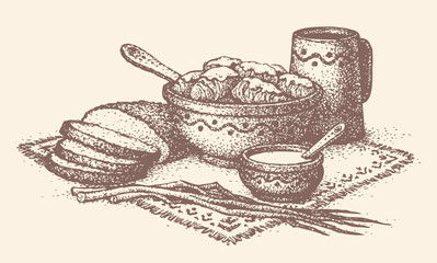 Vector still life. Slavic food: cabbage rolls, bread, leeks and