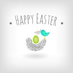 Easter card, egg, bird nest