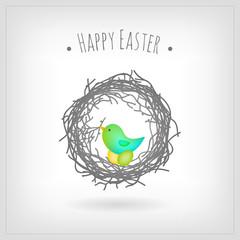 Bird nesting Easter eggs, greeting card