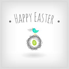 Easter egg in bird nest,greeting card