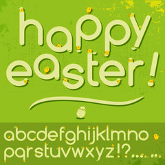 Happy Easter alphabet letters set baby birds hatched from eggs