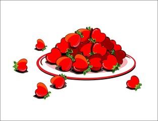 Сердечки в форме клубники на тарелке