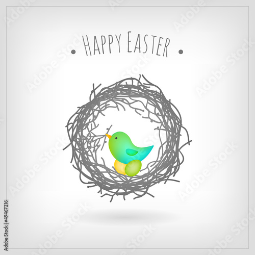 Bird nesting Easter eggs, greeting card