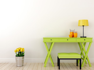 Green table and tulips