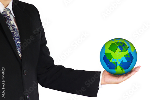 business man carrying earth with recycle logo