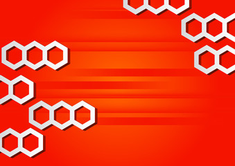 Abstract horizontal red background with hexagons.