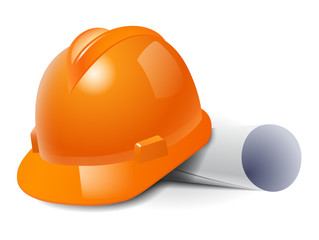 Orange safety hard hat and drawings. Vector illustration
