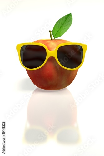 Red apple with yellow sunglasses