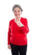 Ältere grauhaarige Frau mit Daumen hoch