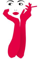 Viso di donna con guanti rossi e sigaretta