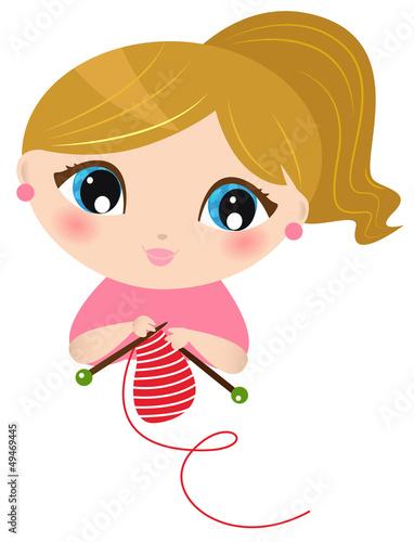 Beautiful knitting Girl isolated on white