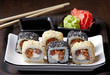 sushi with fried salmon and cream cheese