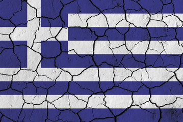 Flag of Greece over cracked background