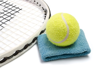 Tennis racket and ball, isolated over white