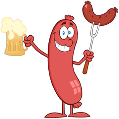 Cartoon Standing Sausage Holding Beer And Sausage On A Fork