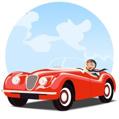 Chica en coche descapotable rojo antiguo