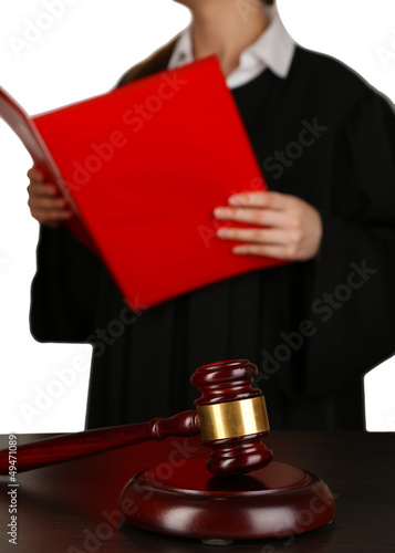 Judge read verdict on grey background