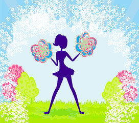 Abstract cheerleader girl poster
