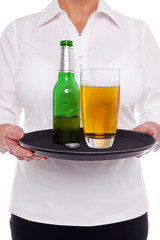 Waitress with beer on a tray