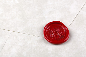Envelope sealed with a red wax seal